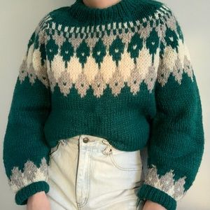Vintage Chunky Knit Fair Isle Sweater Green Wool
